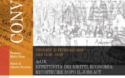 COMMA2 – Art.18, EFFETTIVITÀ DEI DIRITTI, ECONOMIA: RICOSTRUIRE DOPO IL JOBS ACT