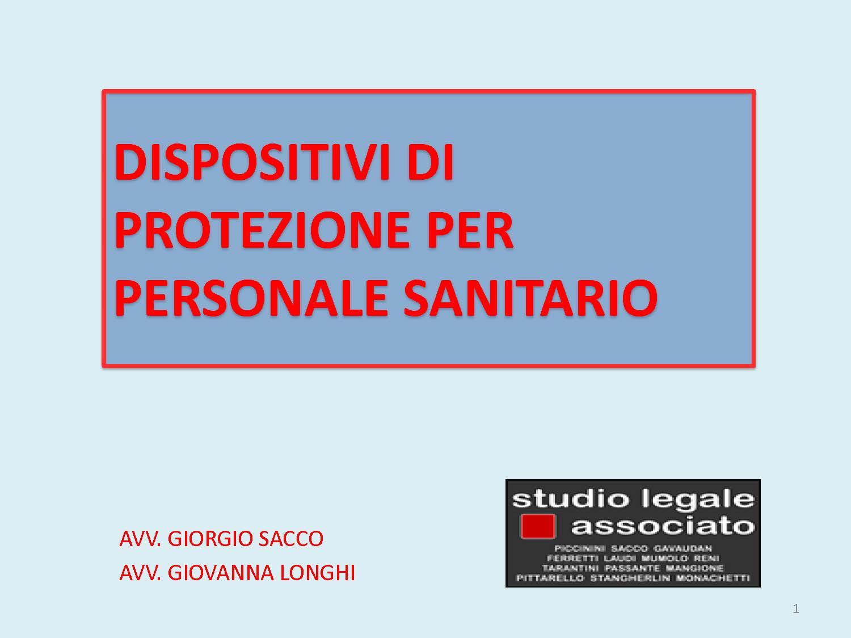 DISPOSITIVI DI PROTEZIONE PER PERSONALE SANITARIO