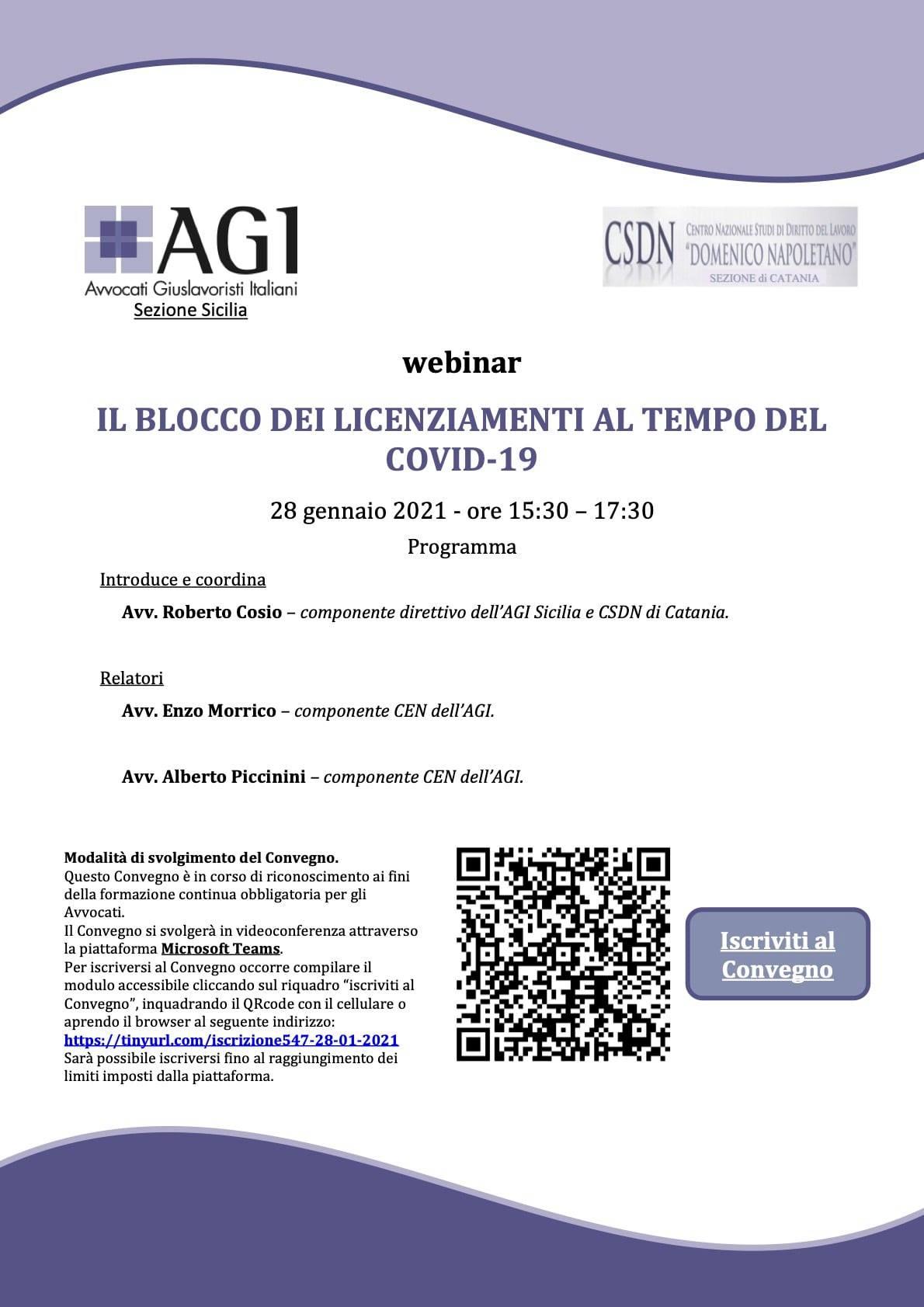 AGI Sicilia – Il blocco dei licenziamenti al tempo del Covid-19