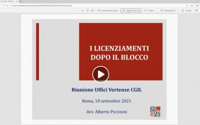"""""""I licenziamenti dopo il blocco"""". Riunione Uffici Vertenze CGIL, Roma 10 settembre 2021. Intervento di Alberto Piccinini"""